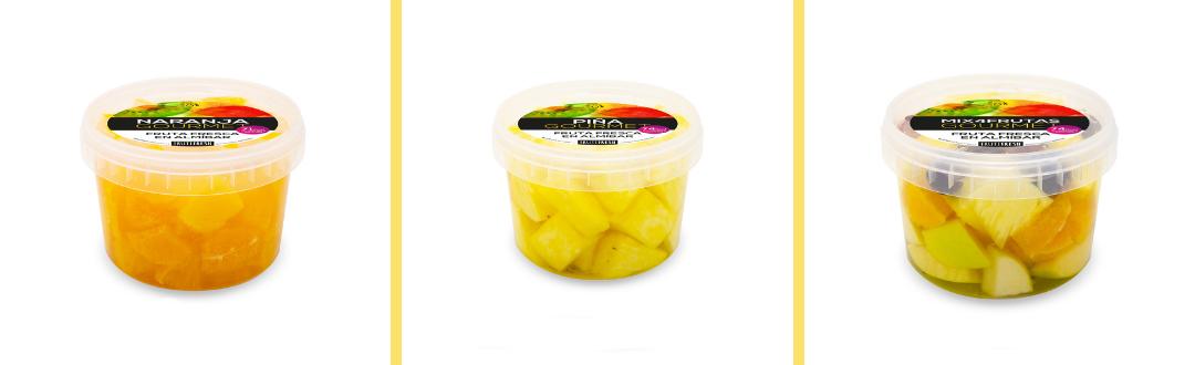 Naranja, piña y mix de frutas troceadas y envasadas